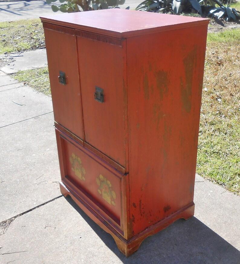 Wondrous Vintage Tv Radio Media Cabinet Console Orange Red Asian Chinese Antiqued Finish Flower Decals Stylish Storage Download Free Architecture Designs Griteanizatbritishbridgeorg