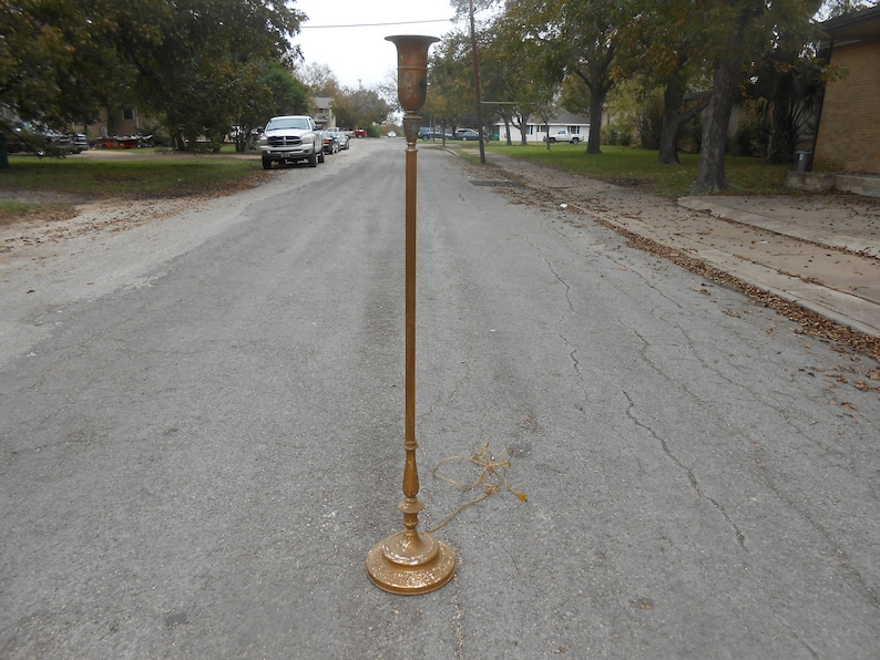 Antique Gold Painted Metal Floor Lamps Rewired Lighting Etsy