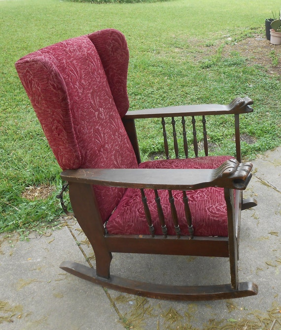 Awesome Antique Morris Chair Rocker Reclining Carved Lion Head Arms Spindle Throne Rocking Chair Red Velvet Brocade Original Fabric Adjustable Back Gamerscity Chair Design For Home Gamerscityorg