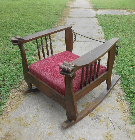 Awe Inspiring Antique Morris Chair Rocker Reclining Carved Lion Head Arms Spindle Throne Rocking Chair Red Velvet Brocade Original Fabric Adjustable Back Gamerscity Chair Design For Home Gamerscityorg