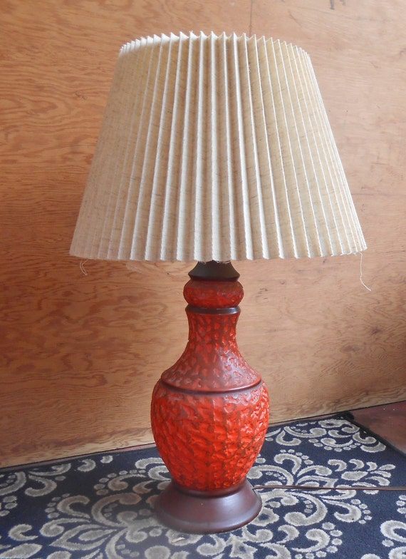 Vintage Orange Ceramic Table Lamp Earth Tones Textured Surface Etsy