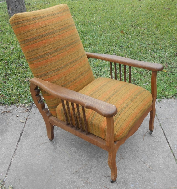 image 0 - Antique Recliner Morris Chair Arts And Crafts Oak Spindle Etsy