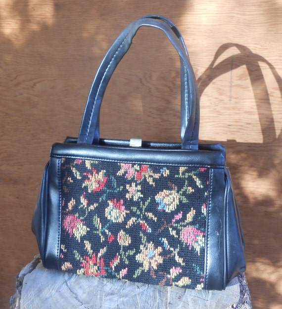 Vintage Tapestry Black Floral Needlework Purse Ca… - image 2