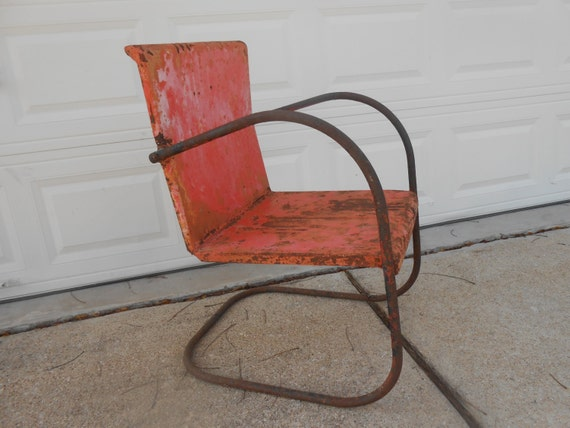 image 0 - Antique Metal Lawn Chair Rusty Shabby Chic Cottage Porch Patio Etsy