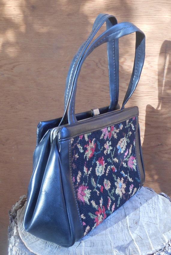 Vintage Tapestry Black Floral Needlework Purse Ca… - image 3
