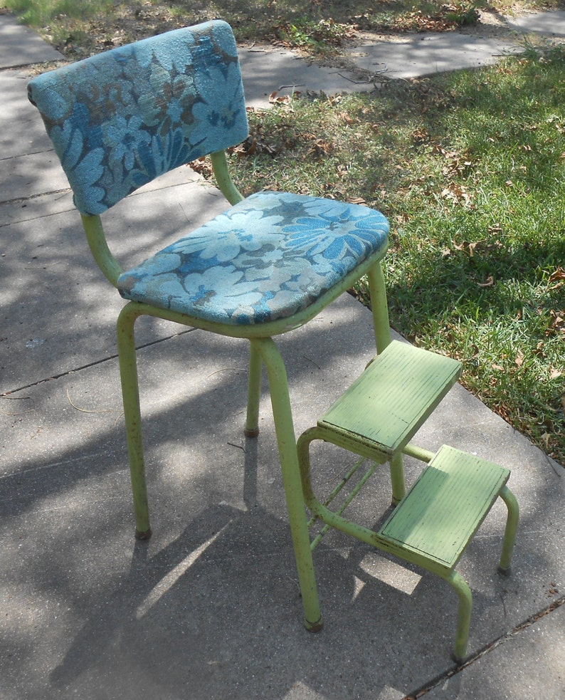 Groovy Antique Step Stool Metal Chippy Paint Shabby Chic New Upholstery Kitchen Stool Farmhouse Country Cottage Shabby Chic Boho Bohemian Seating Lamtechconsult Wood Chair Design Ideas Lamtechconsultcom