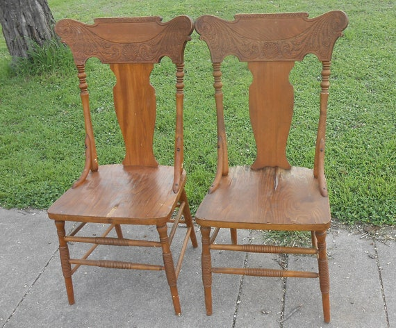 image 0 - Antique Pressed Back Pair Of Oak Wood Chairs Solid And Sturdy Etsy