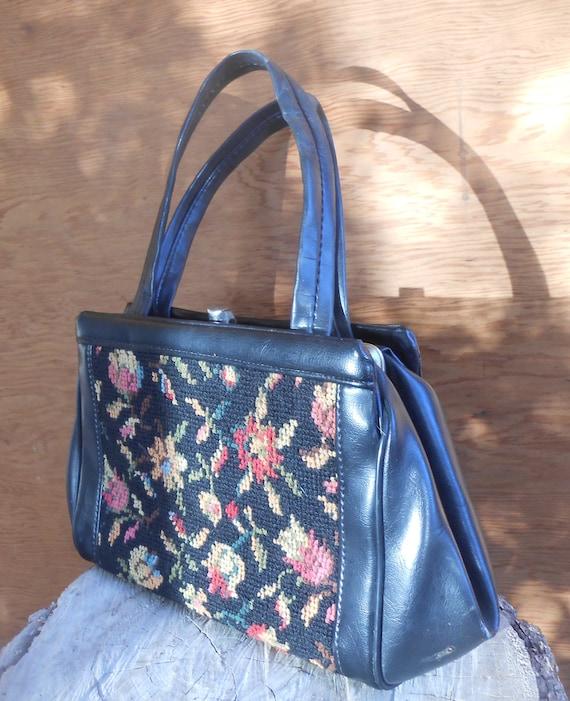 Vintage Tapestry Black Floral Needlework Purse Ca… - image 4