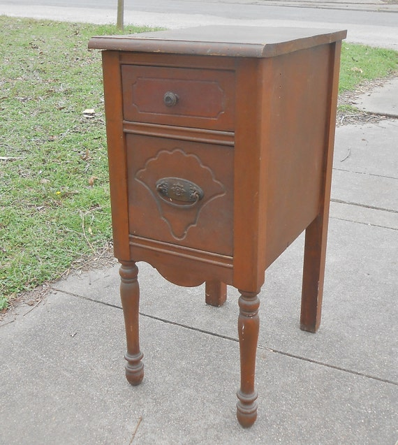 Antique Wood Bedside Table End Table Accent Table All Original Shabby Chic  Farmhouse Cottage Decor