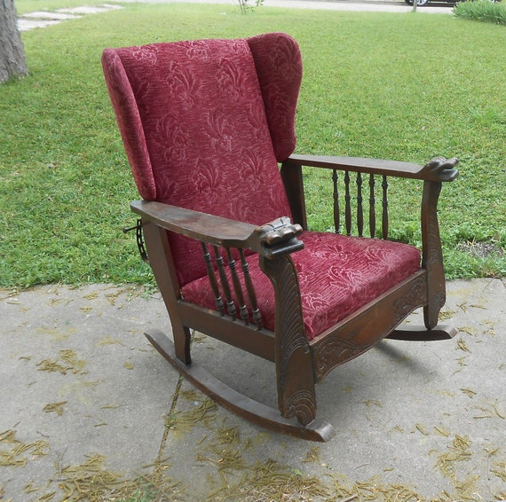image 0 - Antique Morris Chair Rocker Reclining Carved Lion Head Arms Etsy