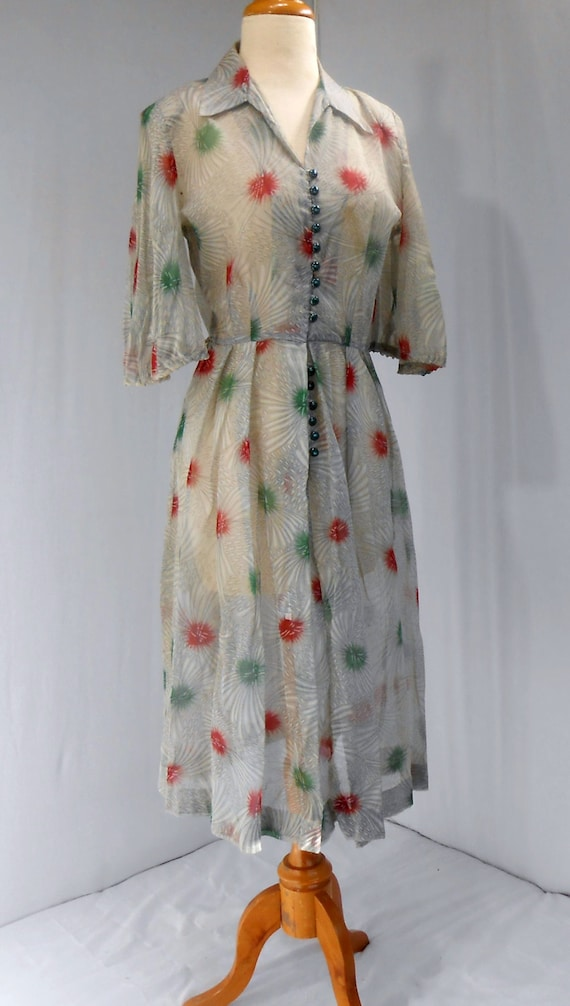 Antique Handmade Dress Sheer Gray Many Green Butto