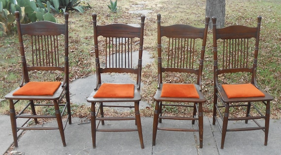 Set of 4 Solid Wood Farmhouse Kitchen Chairs Antique Dining Cottage Decor  Spindle Country Simple Minimalist Style Quaker Plain Wooden