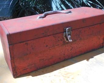 Vintage Metal Toolbox in Rusty Red