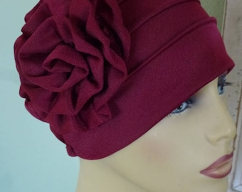 Chemo Burgundy Turban Hat with Large Attached Flower, Alopecia Burgundy Turban