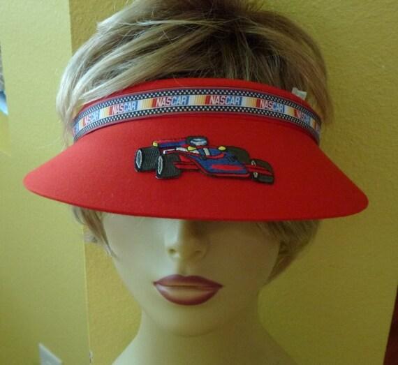 Racing Car Sun Visor with Rhinestone Trim and Race Car Applique