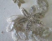 Vintage Glass Bead Sequin Millinary Wedding Dress Swatch Crafting Sewing Piece Romantic Chic TVAT EPSTeam HSH Farmhouse WLVteam