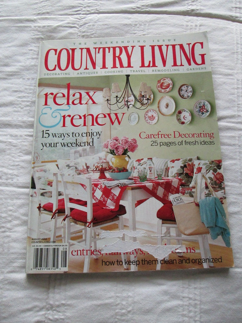 Country Livings Cottage Style August 2004 Magazine Design Decor Decorating  Book Cottage TVAT EPSteam WLVteam hsh Farmhouse