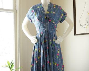 6525160d52aa0a Vintage 1950s Novelty Print Fit n Flare Dress / Paint Set Paintbrush  Brushstrokes / Cummerbund Waist Plunging Neckline Cap Sleeves / XS