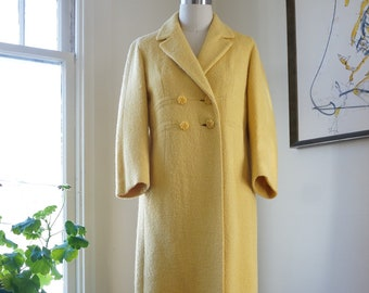 e06e05b8a Vintage 1960s Lady Hamilton Coat / Yellow Coat Double Breasted Coat /  Notched Collar Flower Buttons Three Quarter Sleeves / M or L