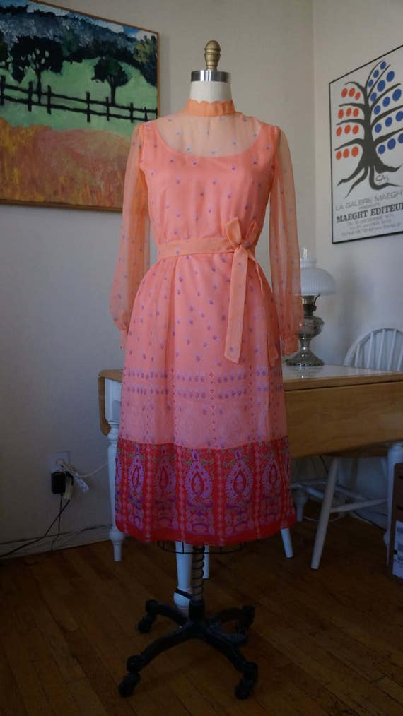 Vintage 1960s Tina Leser Dress / Mod Dress Boho /