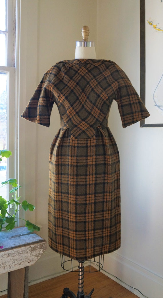 Vintage 1950s Madame Gres Dress / Homespun Checks