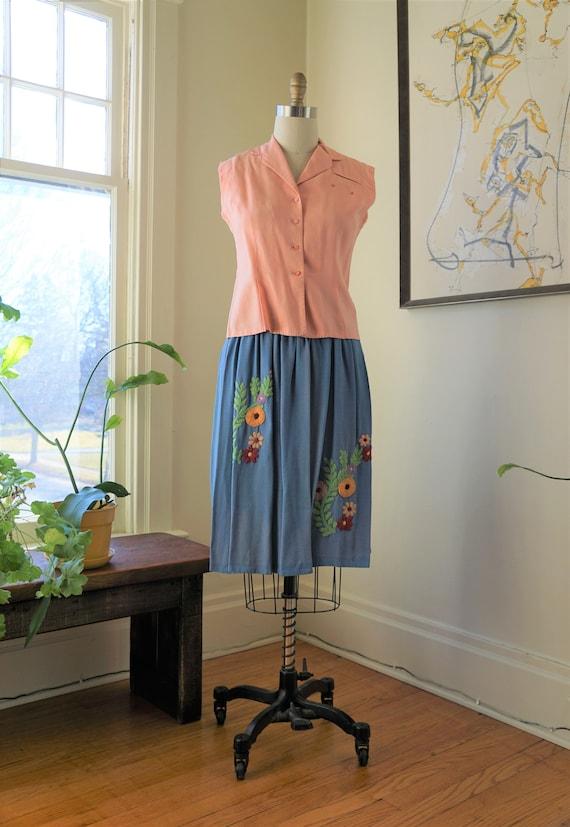 Vintage 1950s Linen Blouse / Jackfin Blouse Summer