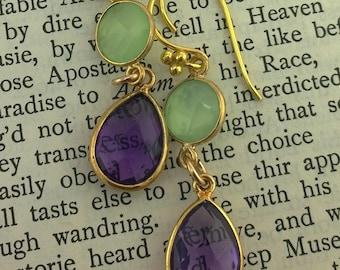 Pale Green Chalcedony and Faceted Amethyst Teardop Earrings