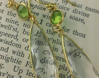 Peridot and Rock Crystal Pendant Dangle earrings
