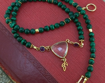 Green Goddess Malachite, Amethyst and Golden Leaf Necklace