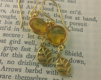 Fern VII: Gold and Citrine Earrings with Fern.