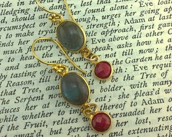 Polished Ovals of Labradorite and Raw Ruby Earrings