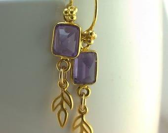 Faceted Amethyst and Golden Fern Lead Earrings