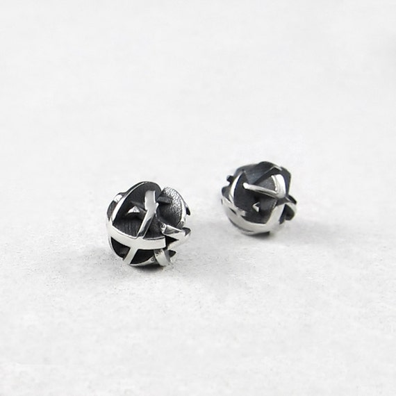 round silver studs 3D printed geometric earrings NegativePositive collection Black sterling silver stud earrings