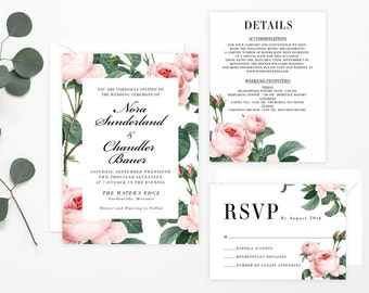 Printable Wedding Invitation Suite - Blush Rose Floral, Pink Rose, Classic Wedding Suite,