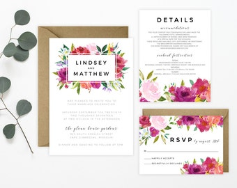 Watercolor Rosey Floral Wedding Invitation Suite - Blush, Fuchsia, Peach, Roses