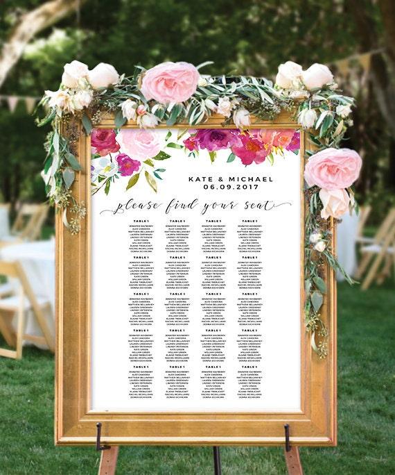 16x20 Printable Sign 8x10 Printable Wedding Sign Rosey Watercolor Wedding Guest Book Sign DIY Fuschia Blush