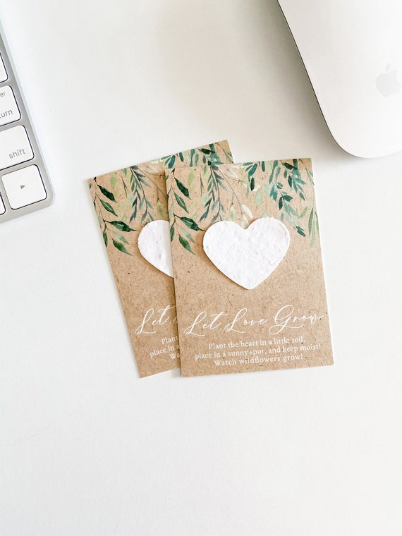 Eucalyptus 1 Mailable Favor Wedding Shower Favors Let Love Grow Favor Cards growNOTES\u2122 Mini Seed Paper Cards Wallet Size Plantable