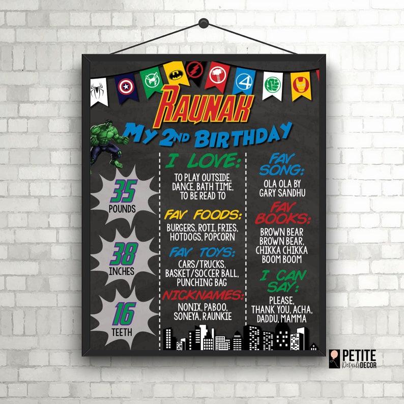 Superhero Avengers Batman Spiderman Superman Hulk Iron Man Birthday  Milestone Board