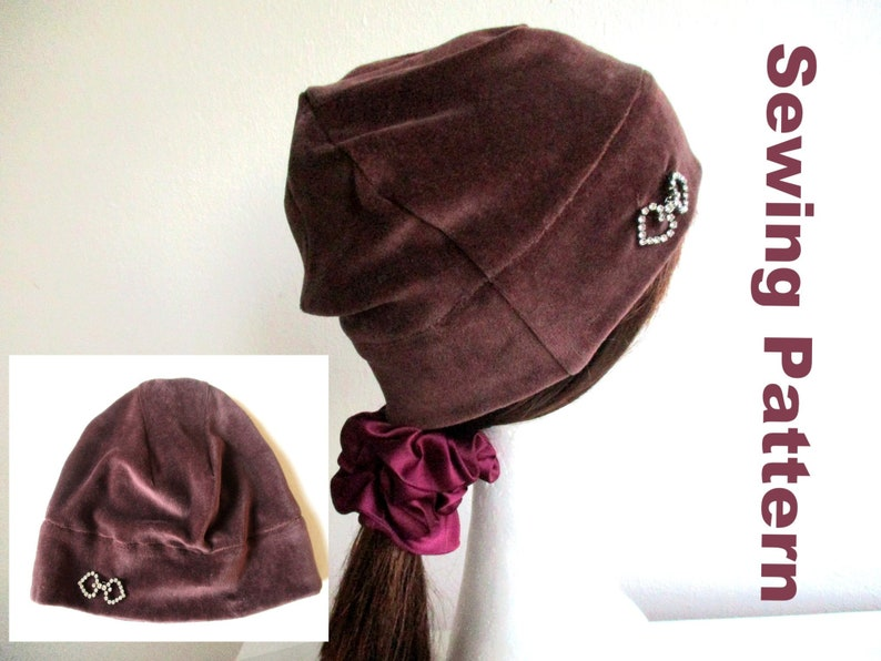e706a9e51f6 Chemo velvet beanie sewing pattern pdf jersey hat cotton bad