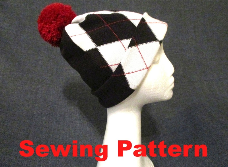 caaabf30673 Checkered jersey cuff beanie sewing pattern pdf lined pom pom