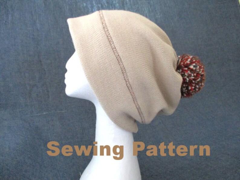 b9d2d2f0601 Oversize hat sewing pattern pdf pom pom jersey beanie