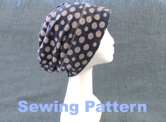 Slouchy Jersey Beanie Sewing Pattern Pdf Lightweight Cotton Etsy Simple Chemo Cap Sewing Pattern