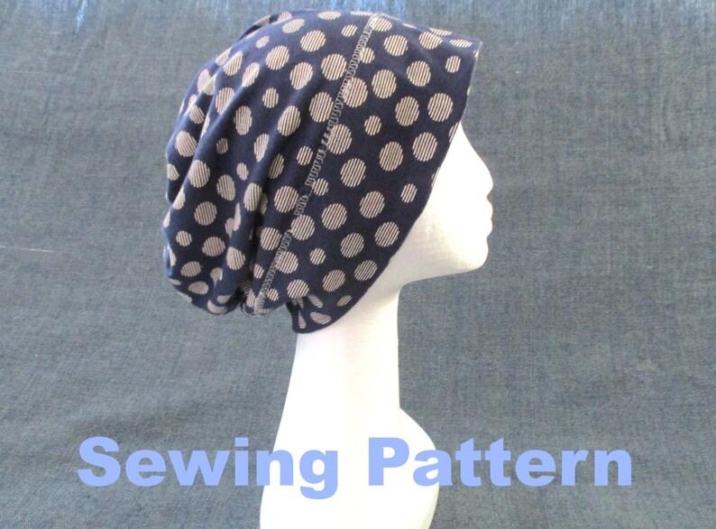 bcb48fd4c76 Cotton slouchy beanie sewing pattern pdf tshirt jersey hat