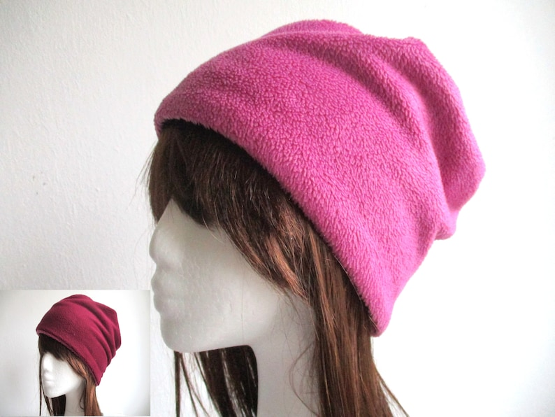 d67c00ab0c6 Reversible fleece beanie sewing pattern pdf chemo hat winter