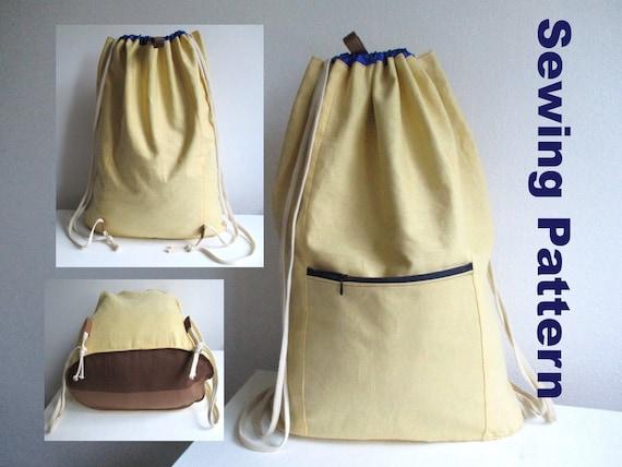 d3c4d15d03c0 Drawstring backpack sewing pattern pdf lined zipper rucksack