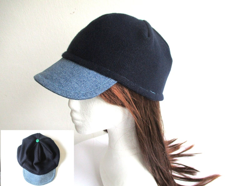 3de94524e denim visor jersey newsboy beanie sewing pattern pdf, double layer baker  boy hat, baseball cap, brim headcover, women men girls boys 6 sizes