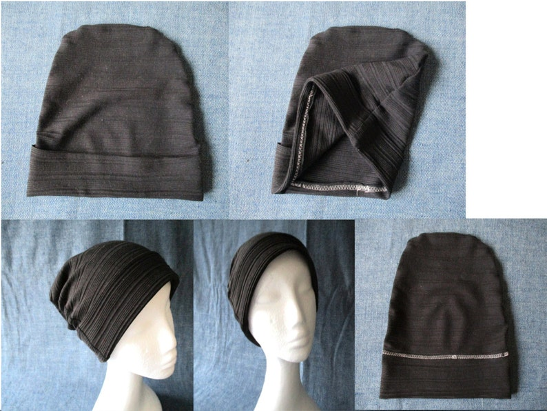 cbe149a81d0 Cuff slouchy jersey beanie sewing pattern pdf cancer hat