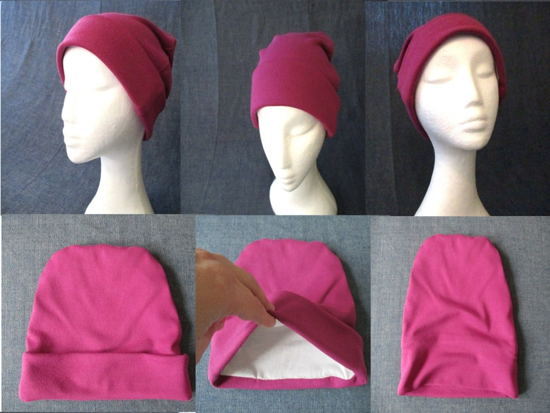 c09c363a7c6 Cuff lined hat sewing pattern pdf slouchy jersey beanie