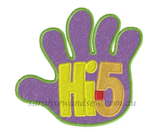 Hi 5 Embroidery Design