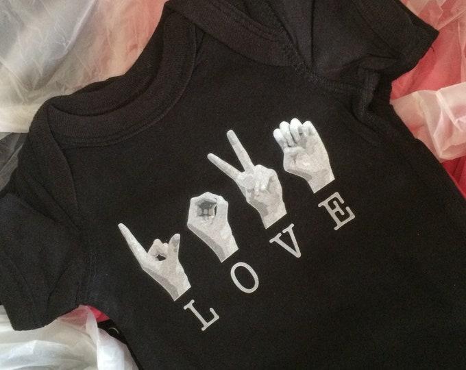 ASL Baby LOVE Onesie - American Sign Language - Rabbit Skins Cotton - Pink and Black - Newborn - 6 mos. - 12 mos. - 24 mos.